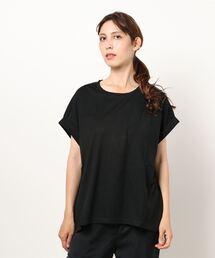 tシャツ Tシャツ 袖ロールカフラウンドヘムTシャツ  汗染み防止加工素材 前後差 ビッグシルエット/オーバーサイズ|ZOZOTOWN PayPayモール店