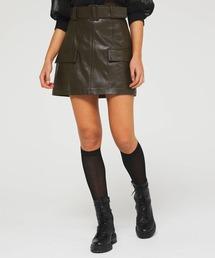 スカート フェイクレザーミリタリーポケットミニスカート|ZOZOTOWN PayPayモール店