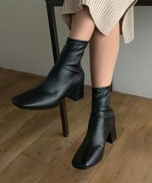 ブーツ スクエアトゥフェイクレザーショートブーツ|ZOZOTOWN PayPayモール店