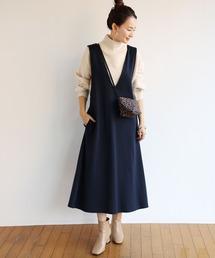ワンピース ジャンパースカート きれいめポンチVネックフレアワンピース ジャンパースカート|ZOZOTOWN PayPayモール店