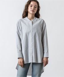 シャツ ブラウス バンドカラーラウンドヘムストライプシャツ|ZOZOTOWN PayPayモール店