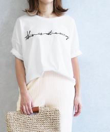 tシャツ Tシャツ ゆったりシルエット 筆記体 刺繍ロゴTシャツ|ZOZOTOWN PayPayモール店