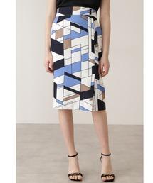 スカート ◆カラーブロックプリント飾りボタン付きスカート【セットアップ対応商品】|ZOZOTOWN PayPayモール店