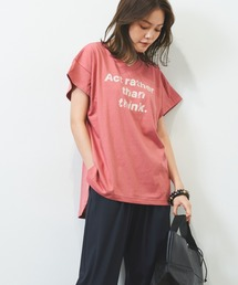 tシャツ Tシャツ ''Act rather than think ''プリント イレギュラーヘム Vネック TEE|ZOZOTOWN PayPayモール店