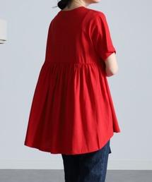 tシャツ Tシャツ 汗染み防止/接触冷感 コットン100%バックギャザーフレアーTシャツ|ZOZOTOWN PayPayモール店