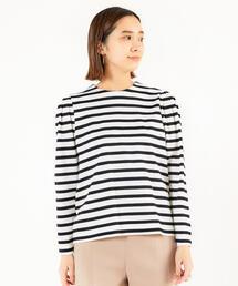 tシャツ Tシャツ コットンボーダージャカード タックパフスリーブプルオーバー|ZOZOTOWN PayPayモール店