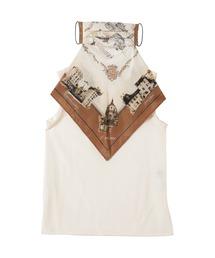 シャツ ブラウス マップパネルプリント マスクスカーフ付き ブラウス|ZOZOTOWN PayPayモール店