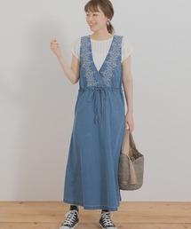 ワンピース クロス刺繍デニムジャンパースカート ZOZOTOWN PayPayモール店