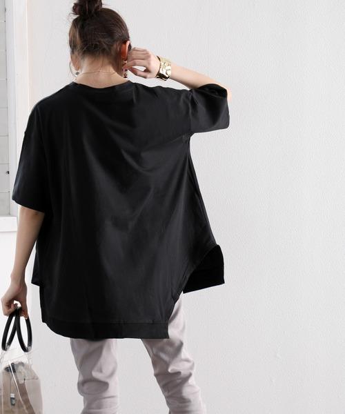 半額 tシャツ Tシャツ 人気海外一番 半袖 アシンメトリービッグシルエットミドル丈無地クルーネックTシャツ