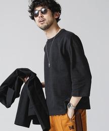 tシャツ Tシャツ 交編リップルサイドスイッチング七分袖カットソー|ZOZOTOWN PayPayモール店