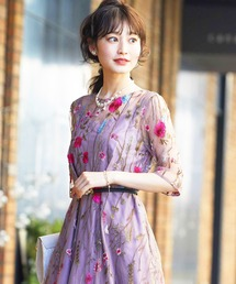 ドレス ヴィンテージ風フラワーカラー刺繍レースフィット&フレアードレス|ZOZOTOWN PayPayモール店