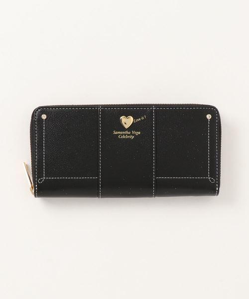 財布 ぷっくりハート ラウンド長財布