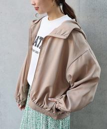 ジャケット ブルゾン とろみ素材フード付きボリューム袖ブルゾン ジャケット|ZOZOTOWN PayPayモール店