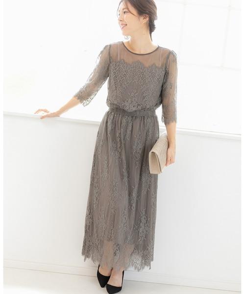 ドレス ストアー 日本製 総レース ロング パーティー ワンピース ドレス. 結婚式