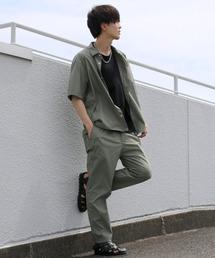セットアップ ドレープストレッチ レギュラーカラーシャツ&テーパードパンツ セットアップ|ZOZOTOWN PayPayモール店