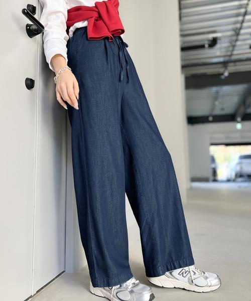 パンツ 動くたび綺麗 海外限定 ゆるっとフレアテンセルパンツ 安売り