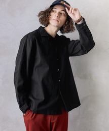 シャツ ブラウス パナマ織り 綿麻ストレッチオープンカラー長袖シャツ|ZOZOTOWN PayPayモール店