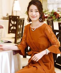ドレス ロング&七分袖フォーマルスリット結婚式ワンピースドレス|ZOZOTOWN PayPayモール店