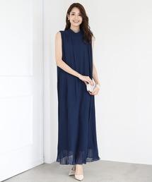 ドレス プリーツロングワンピース 結婚式ドレス ベルト付き|ZOZOTOWN PayPayモール店