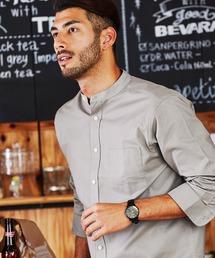 シャツ ブラウス 高密度オックスフォードストレッチバンドカラー7分袖シャツ|ZOZOTOWN PayPayモール店