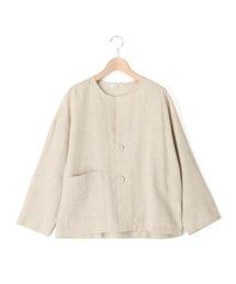 ジャケット ノーカラージャケット 【LE GLAZIK】リネンシャツジャケット NLP WOMEN ZOZOTOWN PayPayモール店