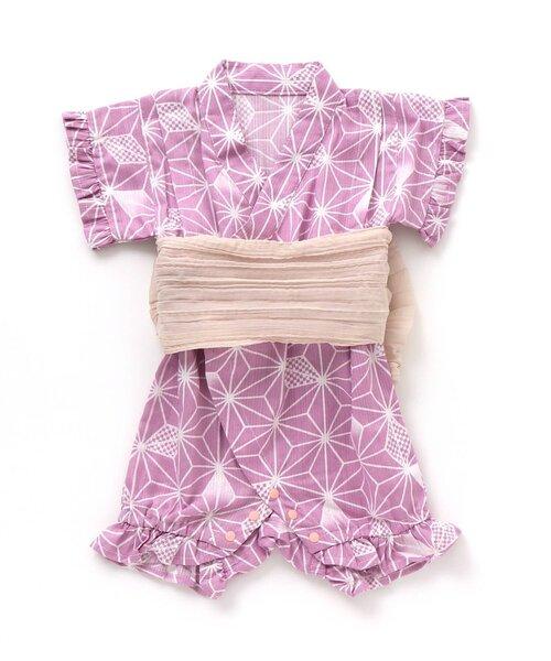 ベビー服 和柄 通販 激安◆ アジサイ柄甚平甚平ロンパス 人気海外一番