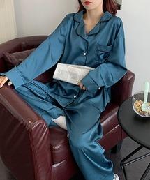 ルームウェア パジャマ 【ELCY】サテン配色パジャマセットアップ|ZOZOTOWN PayPayモール店