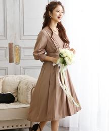 ドレス 結婚式ワンピースドレスミモレ丈と袖ありタックスリーブフィッシュテール大きいサイズフォーマル|ZOZOTOWN PayPayモール店