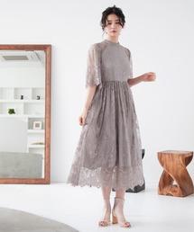 ドレス ハイネック総レース5分袖結婚式ワンピースドレス ZOZOTOWN PayPayモール店