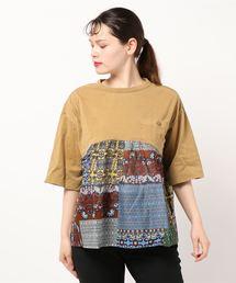 tシャツ Tシャツ アフリカンパッチワークプリント×ピグメント加工天竺ポケットカットソー|ZOZOTOWN PayPayモール店