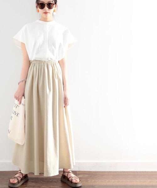 スカート さらり おすすめ 市場 リラックスコットンリネンスカート たっぷりフレア
