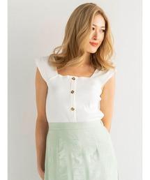 tシャツ Tシャツ フロント釦スクエアネックトップス|ZOZOTOWN PayPayモール店