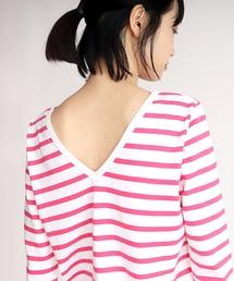 tシャツ Tシャツ 【Le Minor / ルミノア】マドモアゼル 深V バックVネックボーダーTシャツ|ZOZOTOWN PayPayモール店