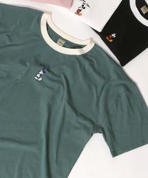 tシャツ Tシャツ ≪2021 SUMMER≫ Disney Mickey/ディズニーミッキー リンガーワンポイント刺繍Tシャツ|ZOZOTOWN PayPayモール店