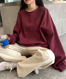 スウェット 韓国風トレーナー スウェット ルーズ オーバーサイズ ドロップショルダー ロゴ リブ ビッグ ロンT|ZOZOTOWN PayPayモール店