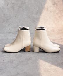 ブーツ 高級ウッドヒールのスクエアトゥショートブーツ☆※ ZOZOTOWN PayPayモール店