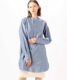 シャツ ブラウス コットンバックサテン スタンドカラーロングシャツ|ZOZOTOWN PayPayモール店