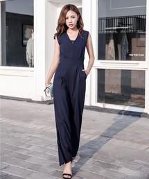 オールインワン ノースリーブVネックオールインワン・ワイドパンツドレス ZOZOTOWN PayPayモール店
