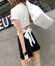 tシャツ Tシャツ バックリボンショート丈TOPS|ZOZOTOWN PayPayモール店
