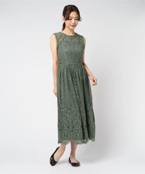 ドレス 幾何学模様柄レース切替ミモレ丈ワンピースドレス 新作多数 毎日続々入荷
