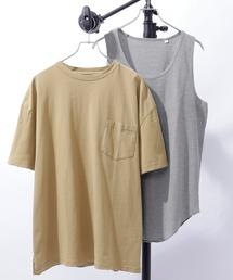 タンクトップ レイヤード オーバーサイズ 半袖Tシャツ タンクトップ(アンサンブル) 半袖カットソー+ワッフルタンクトップ 2枚セット|ZOZOTOWN PayPayモール店