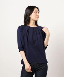 tシャツ Tシャツ エムエフエディトリアルレディース/m.f.editorial:Women 袖シフォン切替7分袖Tシャツ|ZOZOTOWN PayPayモール店