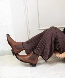 ブーツ 【リアルレザー】サイドゴアウイングチップショートブーツ|ZOZOTOWN PayPayモール店