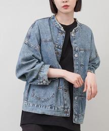ジャケット Gジャン 【ゆったりシルエット】ウォッシュ加工 ノーカラーデニムジャケット ZOZOTOWN PayPayモール店