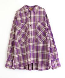 シャツ ブラウス B2578 カラーチェックオーバーシャツ|ZOZOTOWN PayPayモール店