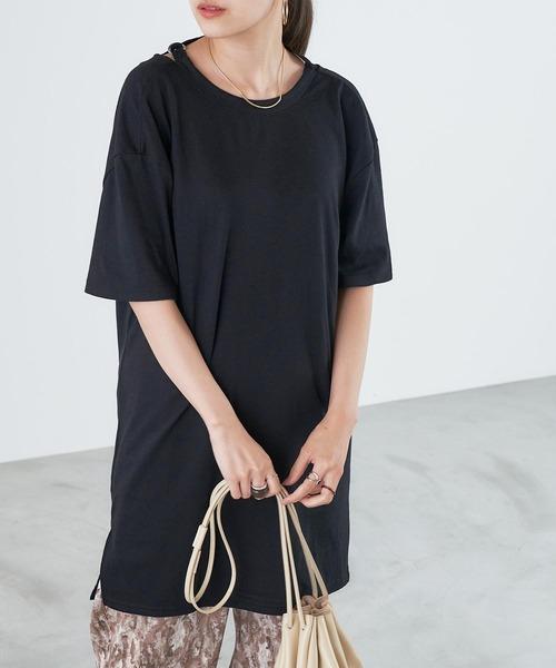 情熱セール tシャツ Tシャツ 送料0円 バックシャンドレープベルト付きロングカットソー