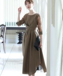 ドレス パーティードレスワンピースミモレ丈と七分袖ハイウエスト大きいサイズフォーマル|ZOZOTOWN PayPayモール店