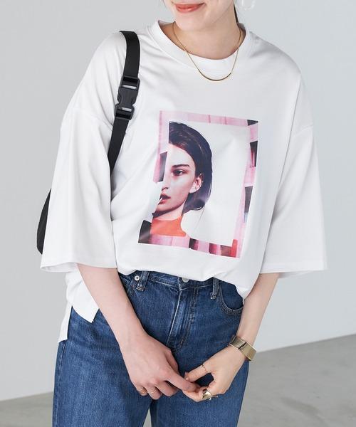 tシャツ 限定価格セール お気に入り Tシャツ photo転写プリントデザインビックTシャツ