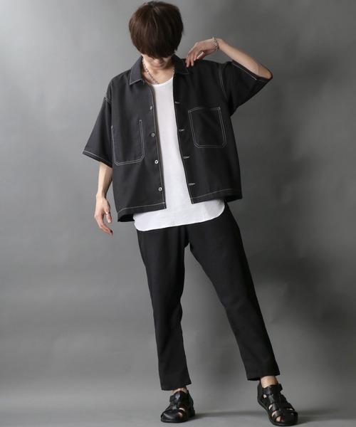 セットアップ ポリトロ ドレープ シャツジャケット テーパードパンツ ワイド 40%OFFの激安セール 男女兼用