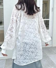 シャツ ブラウス バンドカラーシースルーシアージャガードバルーン袖刺繍ブラウス|ZOZOTOWN PayPayモール店